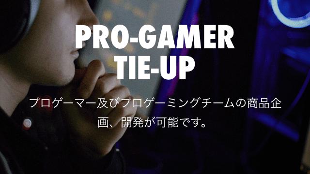 Pro-gamer Tie-up プロゲーマー及びプロゲーミングチームの商品企画、開発が可能です。